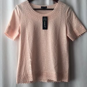 Chances R Pink Flower Textured Blouse NWT